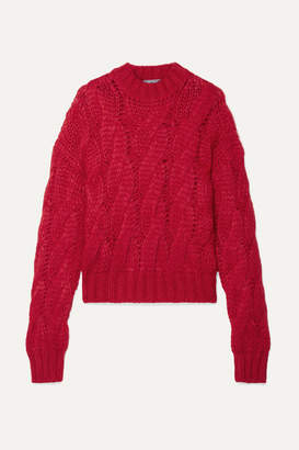 Prada Cable-knit Mohair-blend Sweater - Red