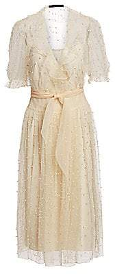 Rokh Women's Pearl-Detailed Sheer Ruffle Wrap Dress