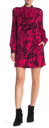 Love Moschino Front Ruffle Long Sleeve Print Dress