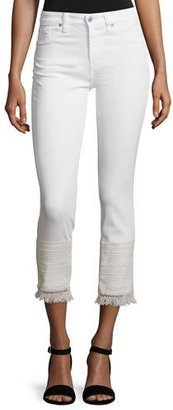 7 For All Mankind Skinny Cropped Jeans W/Fringe Lace Hem, White $159 thestylecure.com