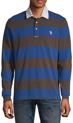U.S. Polo Assn. USPA Embroidered Long Sleeve Stripe Pique Polo Shirt
