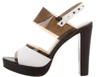 L'Agence Leather Embossed Slingback Sandals