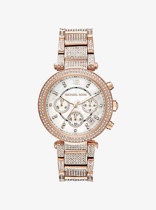 Michael Kors Parker Pave Rose Gold-Tone Watch
