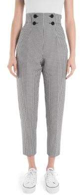 Sara Battaglia Checked Button-Front Cropped Pants