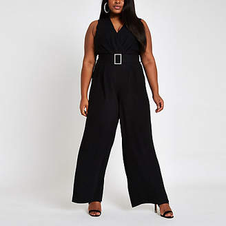 River Island Plus black rhinestone belted wide leg jumpsuit