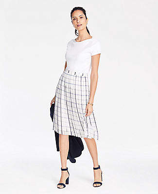 Ann Taylor Tall Plaid Pleated Skirt