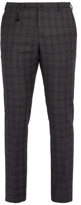 Incotex Slim Leg Checked Wool Trousers - Mens - Grey