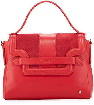 Halston Mixed Top Handle Satchel Bag, Crimson