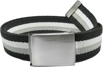 Build A Belt Wide 1.5 Brushed Silver Flip Top Men's Belt Buckle with Canvas Web Belt Small