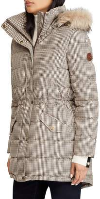 Lauren Ralph Lauren Print Quilted Parka with Faux Fur