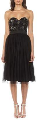 LACE & BEADS Mika Embellished Strapless Dress