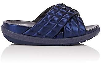 FitFlop LIMITED EDITION Women's Quilted Metallic Leather Slide Sandals - Navy