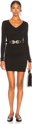 Enza Costa Cashmere Long Sleeve V Side Ruched Mini Dress