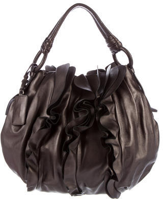 prada Prada Nappa Ruffle Shoulder Bag