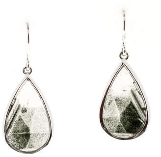 clear 14K White Gold 14.46ct Quartz with Tourmaline Dangle Earrings