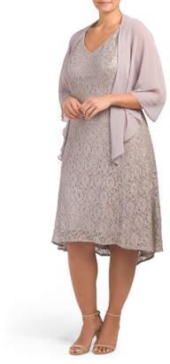 Plus Sequin Lace Jacket Dress