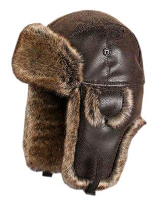ONCEFIRST Unisex Aviator Hat Faux Leather Pilot Cap Winter Trapper Hunting Hat L