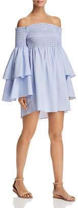 Aqua Smocked Off-the-Shoulder Mini Dress - 100% Exclusive