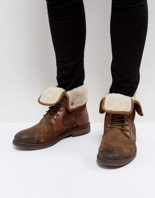 Steve Madden Turntup Suede Warm Boots In Tan