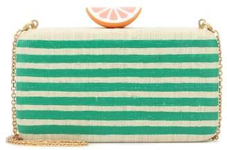 Kayu Beatriz striped raffia clutch