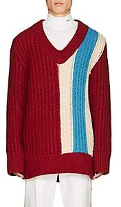 Calvin Klein Men's Striped Wool-Mohair Oversized Sweater - Md. Red