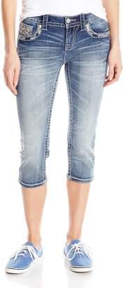 Miss Me Women's Embellished Back Pocket Denim Capri