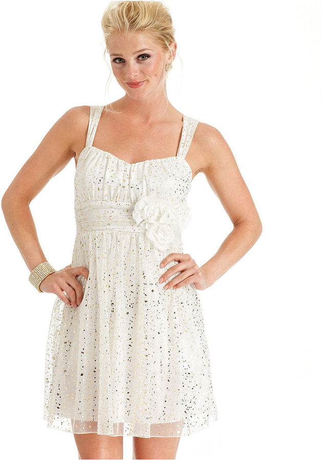 Amy Byer BCX Juniors Dress, Sleeveless Metallic Rosette