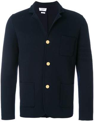 Thom Browne Button-back Fine Merino Wool Sport Coat With Tonal 4-bar Stripe