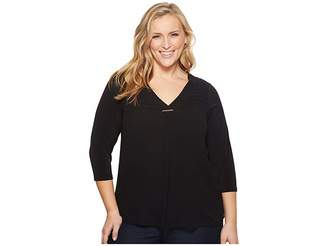 Calvin Klein Plus Plus Size Long Sleeve V-Neck Top w/ Bar Women's Long Sleeve Pullover