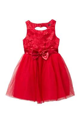Zunie Sleeveless Heart Back Lace Mesh Dress (Big Girls)
