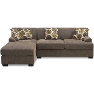 Poundex Benford Faux Linen Chaise-Love Sectional in Slate