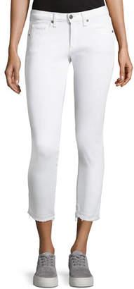 Veronica Beard Brooke Fray-Hem Low-Rise Skinny Jeans