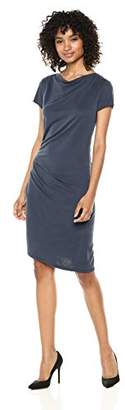 Halston Women's Short Sleeve Boatneck Draped Jersey Dress