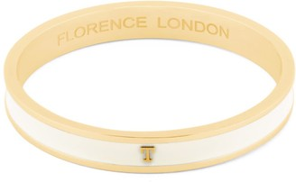 Florence London Initial T Bangle 18Ct Gold Plated With Cream Enamel