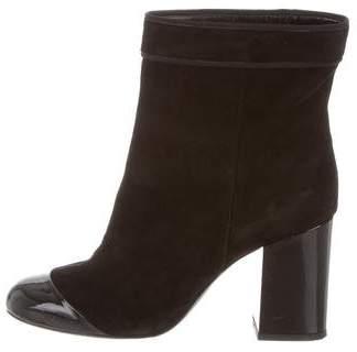 Lanvin Suede Cap-Toe Ankle Boots