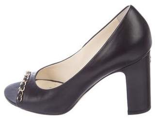 Chanel Leather Chain-Link Pumps