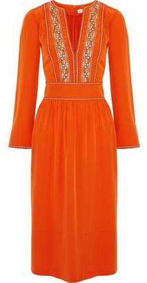 Vanessa Bruno Embroidered Silk Crepe De Chine Dress