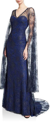 Tadashi Shoji Starburst Lace Gown with Cape Overlay