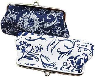 Oyachic 2 Packs Coin Purse Cell Phone Pouch Canvas Folk-custom Clasp Closure Wallet Gift