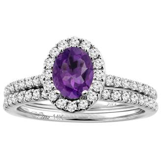 Sabrina Silver 14K White Gold Diamond Halo Natural Amethyst 2pc Engagement Ring Set Oval 7x5 mm, size 9.5