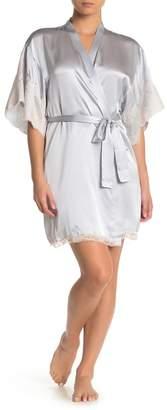 Natori Lolita Lace Trim Silk Robe