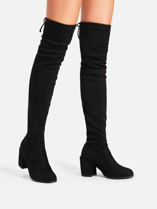 9d82c73f8f86 Shein Tie Back Over Knee Block Heeled Boots
