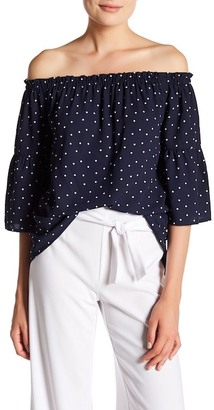 Kensie Polka Dot Off-the-Shoulder Blouse $69 thestylecure.com