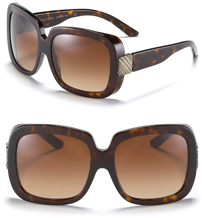 Burberry Bold Oversized Check Temple Sunglasses