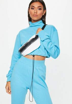 Missguided Blue High Neck Drawstring Cropped Hoodie