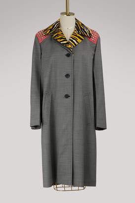 Prada 3/4 length coat with removable collar