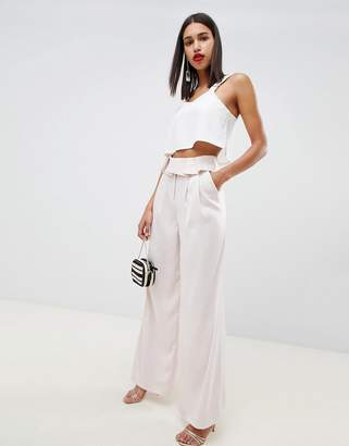 Asos DESIGN tailored soft fold waist wide leg pants