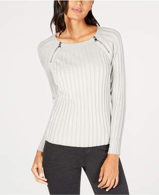 INC International Concepts I.n.c. Zipper-Detail Raglan Sleeve Sweater, Created for Macy's