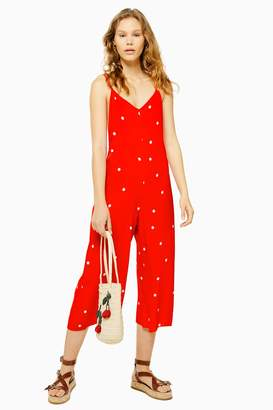 Topshop Womens Strappy Spot Jumpsuit - Red