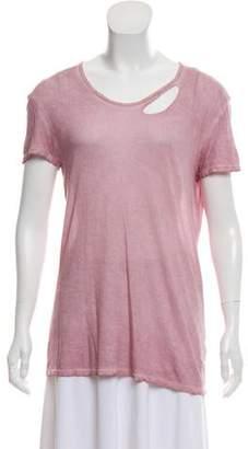 RtA Denim Distressed Short Sleeves Top